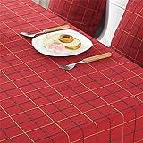 Einfache, karierte Baumwoll-Leinen-Tischdecke im ländlichen Stil, rechteckige Tischdecken, runde Tischdecken, für Esszimmer, Kaffeetisch, Picknicks, Partys, Baumwollmischung, rot, Diameter; 62