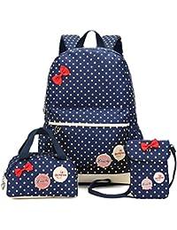 Bcony Lot de 3 mignon Dot sacs à dos Cartables scolaire pour filles enfant + Sac à main + mini sac bandoulière