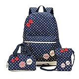 Bcony Set von 3 Nette Punkt College Schultaschen/Rucksäcke /Schulrucksäcke/Kinderbuchtasche Mädchen Teenager + Mini Handtasche + Geldbeute Umhängetasche,Navy blau + Gelb