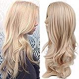 Langes lockiges Haar der Frauen gold-tone Perücken und große Wellenperückekappe können nicht chemische Faserhaarperücken gefärbt werden