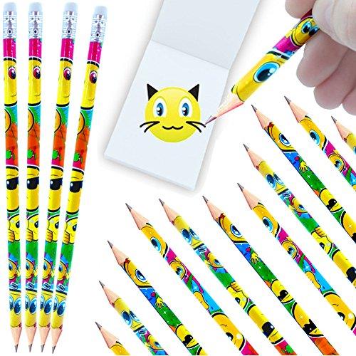 - 12 x Smiley - Party - Bleistifte mit Radierer┃ NEU ┃ Kindergeburtstag ┃ Mitgebsel ┃ Smiley - Party ┃12 Stück (Halloween-brief-schriften)