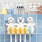 Home Bad Wandhalterung Sucker Smile Face Zahnbürstenhalter Sticky Haken Ständer Saugnapf Aufbewahrung für Zahnbürsten Dusche Cosmetics Stifthalter stark Creative Fünf zum Aufhängen