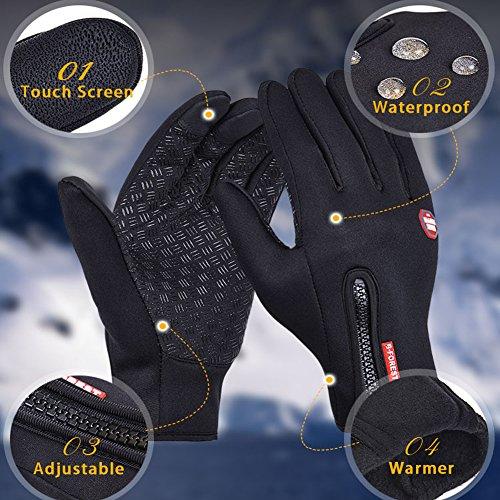 ZEROF Touchscreen Handschuhe Outdoor Laufhandschuhe Radfahren Jagd Sports Handschuhe Fahrradhandschuhe mit Touchscreen Funktion für Smartphones,Perfekt für Herbst,Frühling,Frühwinter (XL, Black)