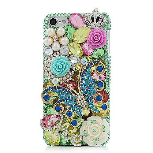 Spritech (TM) 3D handgemachte Mode Frauen Ipod Touch 6 Fall Luxus voller Diamant-Design Bling blaue Rhinestone-Schmetterlings-Crytal Blumendekor freie harte Caver iPod Touch 6