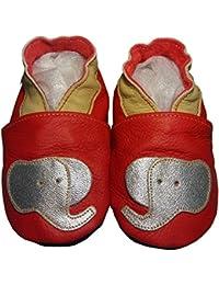 """""""Elefun Rouge"""" de BBKDOM- Chaussons bébé et enfant en cuir souple de qualité supérieure Fabrication Européenne de 0-5 ans"""