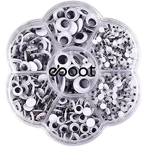 eBoot 700 Piezas Stick Wiggle Eye Ojos Movibles Ojos Saltones con Autoadhesivo DIY Scrapbooking Crafts Accesorios de Los Juguetes, Tamaños