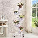 Krawatte - Stil Rad Blumenständer Boden - Stil Blumenbeet Rahmen Wohnzimmer Balkon Regal 5 Schichten (47 * 143cm) ( Farbe : Weiß )