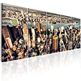 murando - Bilder New York 200x80 cm - Leinwandbilder - Fertig Aufgespannt - 5 Teilig - Wandbilder XXL - Kunstdrucke - Wandbild - Skyline NYC Stadt City d-B-0186-b-m