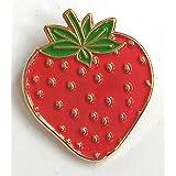 Pin de Metal esmaltado, Insignia Broche Rojo Fresa Fruta