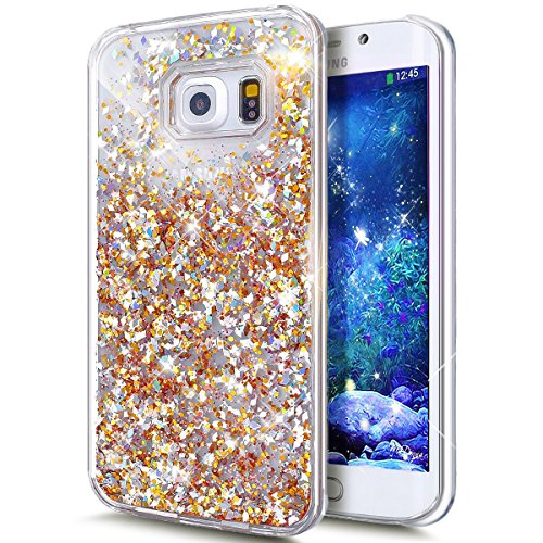 Für Samsung Galaxy S6 Edge Hülle,Galaxy S6 Edge Hülle Bling Glitzer Kristall Strass Diamant Spiegel Hülle,EMAXELERS Galaxy S6 Edge Case Cute Lovely Bär Ring Holder Weich TPU,Galaxy S6 Edge Hülle Silik Liquid 1