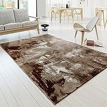 Designer Alfombra Modern Arizona Lienzo acabado en color marrón crema jaspeado, polipropileno, 120 x 170 cm