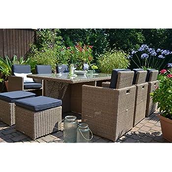 polyrattan sitzgruppe toscana xl in beige braun natur tisch 6 sessel 3 hocker. Black Bedroom Furniture Sets. Home Design Ideas