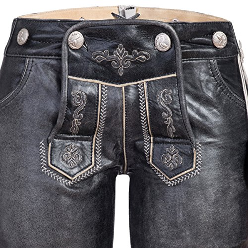 kurze Lederhose in schwarz von Marjo Trachten Schwarz