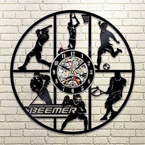 YUN Clock@ Wanduhr aus Vinyl Schallplattenuhr Basketball/Fußball Design-Uhr Wand-Deko Vintage Familien Zimmer Dekoration Durchmesser 30 cm