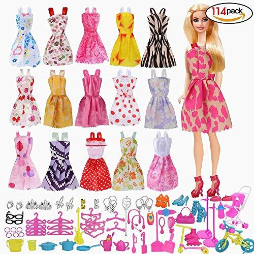 Beito Zubehör für Barbie, Kleid Zubehör für Barbie-Puppen, 10pcs Sommer Röcke Kleider + 2 PC Brautkleid +98 Barbie Zubehör