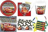 Cars 3 Disney 46-teiliges Kindergeburtstag Party Deko Set Standard Motto Fete Feier 8 Teller, 8 Becher, 20 Servietten, Tischdecke, 6 Einladungskarten, 3 Rollen Luftschlangen