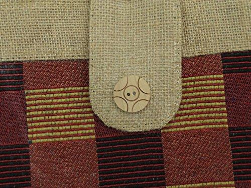 """Frauen Baumwolle Jute Streifen Muster beiläufiger Schulter Beutel Tote Favor Purse 14,5"""" x 11,5"""" Zoll Kastanienbraun"""