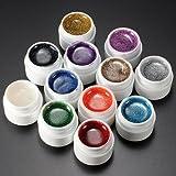 Lot de 12 gels UV colorés à paillettes pour faux ongles