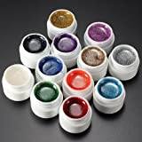 12Colors mix nail art tip design false French glitter UV gel builder Polish set immagine