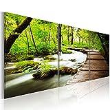 murando - Bilder 90x30 cm - Leinwandbilder - Fertig Aufgespannt - Vlies Leinwand - 3 Teilig - Wandbilder XXL - Kunstdrucke - Wandbild - Wald grün Baum c-B-0021-b-e