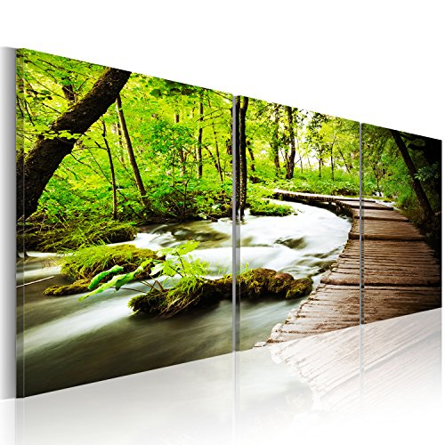 murando - Cuadro 150x50 - impresión de 3 Piezas en Material Tejido no Tejido impresión artística fotografía Imagen gráfica - decoración de Pared - Paisaje Bosco Verde c-B-0021-b-e 150x50 cm