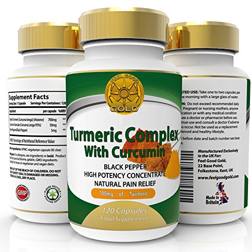 Turmeric Curcumin with Bioperine Black Pepper for Max Absorption. 1500mg Highest Potency. 95% Standardised Curcuminoids. 120 Veg Capsules. Made UK. Satisfaction Guarantee.