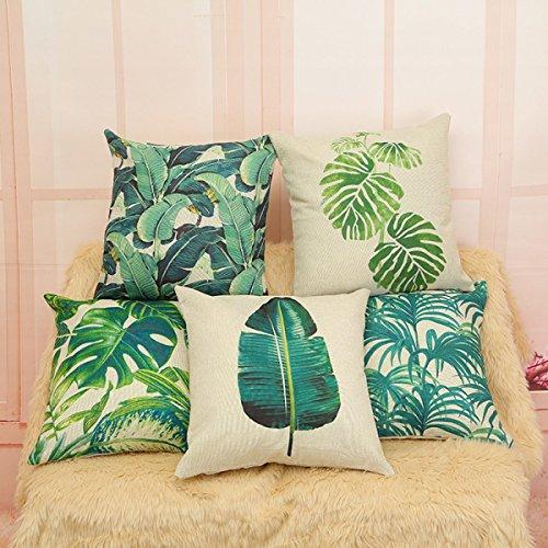 YFFS 4 Stück Pflanze Blätter Tropische Leinen Kissenbezug Gepolstertes Kissen,B -
