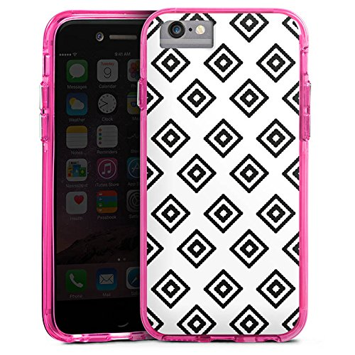 Apple iPhone 7 Bumper Hülle Bumper Case Glitzer Hülle Rauten Diamond Ethno Bumper Case transparent pink