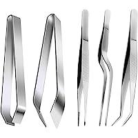 ZITFRI 5 Pinces de Cuisine en Acier Inoxydable - Pinces à Epiler Pince Plate pour Poisson - Pincette pour Chefs Cuisine…