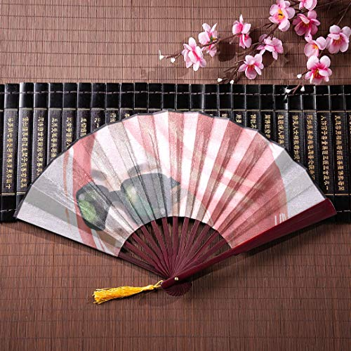 EIJODNL Japanische Fans für Frauen Schöne Frau mit Sonnenbrille mit Bambusrahmen Quaste Anhänger und Stoffbeutel Japanischer Fan Wanddekor Handfächer Tragbarer Handfaltfächer