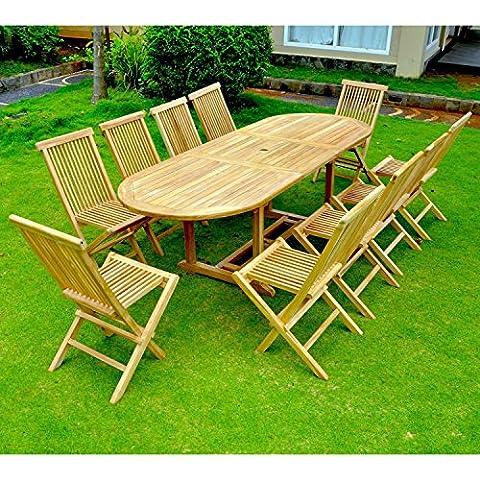 El Morotai 10: salón de jardín (teca maciza: bandeja 10–12personas–mesa ovalada,
