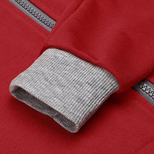 CRAVOG Nouvelle mode femmes hiver sweat-shirt à capuche pull pull manteau pull à capuch Rouge