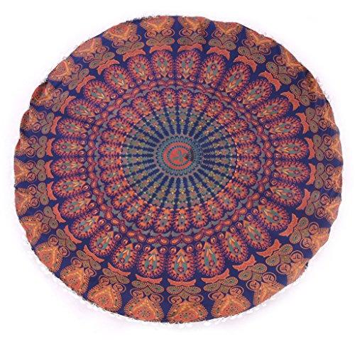 indischen Pom Pom Design Waschtisch Puffs Euro Sham 81,3cm Kissen Überwurf Pom Pom Kissen, Mandala Runde Form Kissenbezug aus Baumwolle, Outdoor Euro Sham Großer Überwurf Bodenkissen Kissen Euro Design-waschtisch