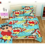 TIB Cotton Shinchan Cartoon Double Bedsheet with 2 Pillow Covers for Kids, Sky Blue,(90x100-inch)