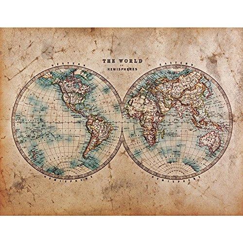 Pitaara Box Mid 1800S Old World Map Western & Eastern Hemispheres Peel & Stick Vinyl Wall Sticker 41.4 X 32.1Inch (Peel-stick Vinyl)
