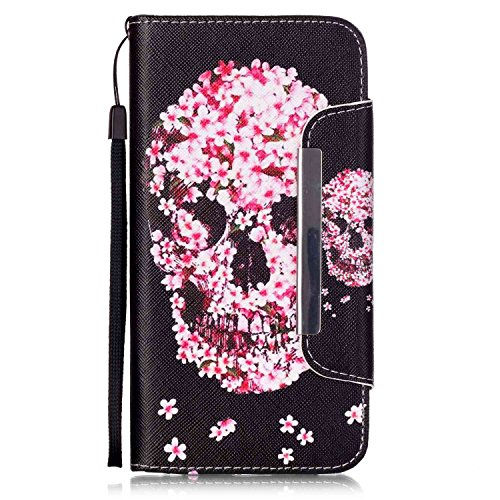 Galaxy 6 Plus Hülle, iPhone 6S Plus Hülle,iPhone 6 Plus/ 6S Plus Hülle Ledertasche Brieftasche im BookStyle, SainCat PU Leder Wallet Case Folio Schmetterlings Rosen Relief Muster Schutzhülle Prägung M Petals Schädel