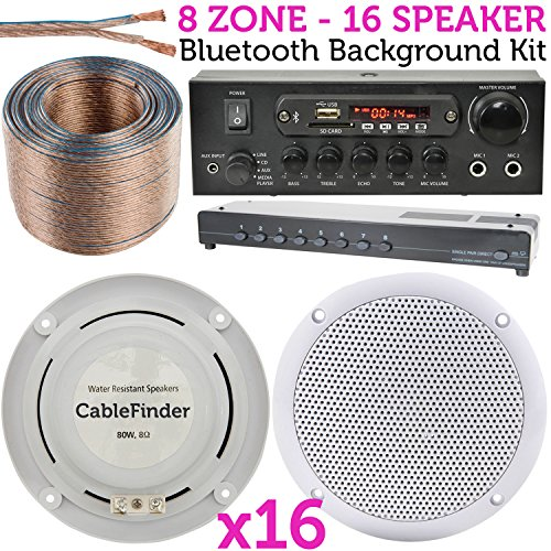 Premium Qualität 16 x 80 W Stereo Deckenleuchte HiFi Lautsprecher, Bluetooth/Wireless Verstärker/AMP Background Musik System – Shop/Restaurant/Küche/Pub/Bar/Home Cinema Surround Sound Player – Cablefinder Unter Dem Schrank Cd-mp3-player
