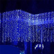 SOLMORE 4x0.6M Rideau Lumineux 120 LED 8 Modes Guirlande Lumineuse Déco Noël Mariage Soirée Anniversaire Fête Vitrine Fenêtre Cour Balcon Maison Boutique Restaurant Hôtel Bar Intérieur Extérieur 220V Bleu