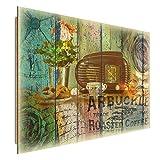 Feeby Frames, Cuadro de pared, Cuadro decorativo, Cuadro impreso, Cuadro Deco Panel, 30x40cm, VINTAGE, RADIO, PRETZELS, CAFÉ, FLORES, DOBLE EXPOSICIÓN, MULTICOLOR