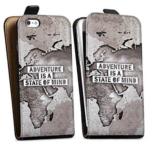 Apple iPhone 6 Hülle Case Handyhülle Weltkarte Spruch Abenteuer Downflip Tasche schwarz