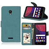 85a97b0f9b2 Funda Alcatel One Touch Pop Star 3G OT5022D (5.0) ,Bookstyle 3 Card Slot PU  Cuero cartera para TPU Silicone Case Cover(Azul)