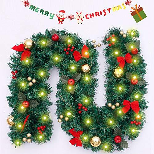 Enhome Weihnachtsgirlande mit Beleuchtung, 2.7 Meter Tannengirlande Weihnachtsdeko Ball Weihnachtstürdekor 8 Modus Lichterkette für Innen und Außen Verwendbar (2.7M/100Led,Roter Bogenknoten)