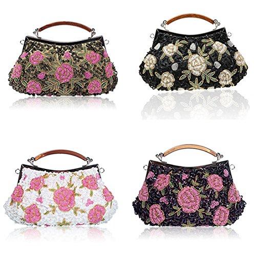 YYW Vintage Clutch Bag, Poschette giorno donna White