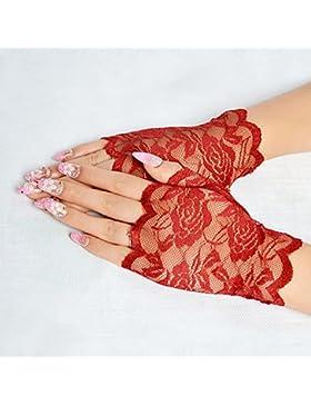 Smartrich - Guantes de encaje sin dedos, elegantes, sexy, para noche, fiesta, boda rojo rosso 13.5*8.5cm
