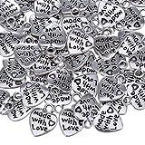 Sumind 60 Pezzi Ciondolo Argento a Forma di Cuore Fascino Made with Love Pendente Charm per Fai Da Te Artigianali Gioielli Fabricazione Accessori