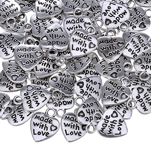 Sumind 60 Stück Antique Silbern Herz Charm Made with Love Charm Anhänger für DIY Handwerk Schmuck Herstellung Findings Zubehör (Charm-handwerk)
