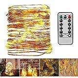FITFIRST LED Lichterketten mit Fernbedienung, Wasserdichte 10M 100 LEDs Batteriebetriebene 8 Modi Festival Beleuchtung, perfekte Deko für Innen und Außen, Hochzeit, Parteien, Weihnachten (Warmweiß)