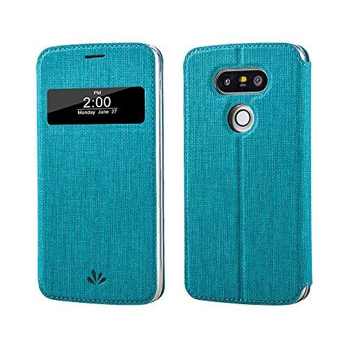 LG G5 Hülle, G5 smart Hülle, Meiya Premium PU Ledertasche Wallet Hülle, Flip-Fenster automatische Schlaf / Wake-Funktion Schutzhülle für LG G5