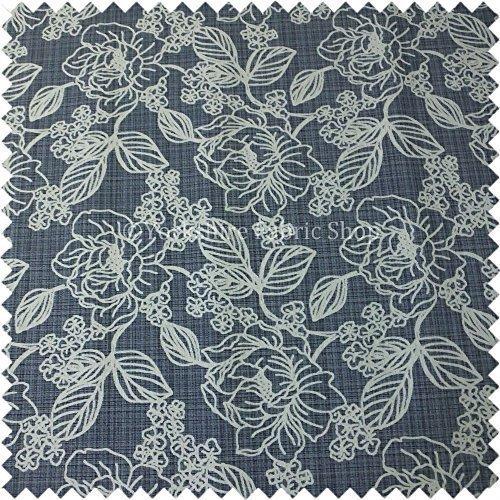 Yorkshire Fabric Shop Moderne Qualität Große Floral Design-Muster in blau strukturiert Farbe Chenille Innendekoration Vorhänge Sofas Stoff - Strukturierte Chenille
