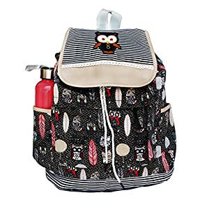 BRANDX Imported Owl passion light weight Canvas Backpack Cute Travel School College Shoulder Bag/Bookbags for Teenage Girls/Students/Women/ Girls- Black